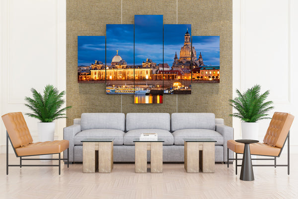 Residence Near River Marina in Dresden, Germany - 5 piece Canvas