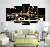 5PCS Drums Musical Instruments Wall Art Canvas Prints Painting - 5 piece Canvas