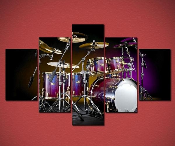5PCS Drums Musical Instruments Canvas Prints Painting - 5 piece Canvas