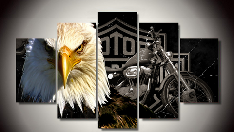 5 PCS Framed Eagle Motorcycle Canvas Prints - 5 Piece Canvas Eagle Motor Bike on Wall Art for Office and Home Wall Decor - EpicKanvas