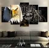 5 PCS Framed Eagle Motorcycle Canvas Prints - 5 Piece Canvas Eagle Motor Bike on Wall Art for Office and Home Wall Decor