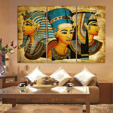 3 Pieces Pharaoh Of Ancient Egypt Wall Art Canvas - 3 Piece Egyptian Woman Canvas For Your Home/Office Room - EpicKanvas