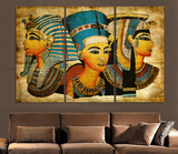 3 Pieces Pharaoh Of Ancient Egypt Wall Art Canvas - 3 Piece Egyptian Woman Canvas For Your Home/Office Room
