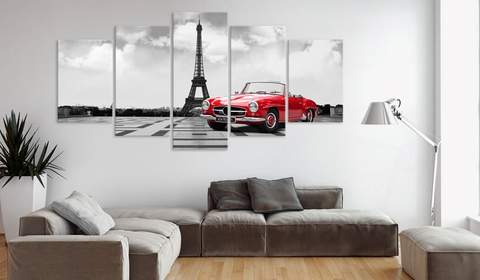 5PCS Framed Eiffel Tower White/Black with Red Car Canvas Wall Art for Office and Home Wall Decor