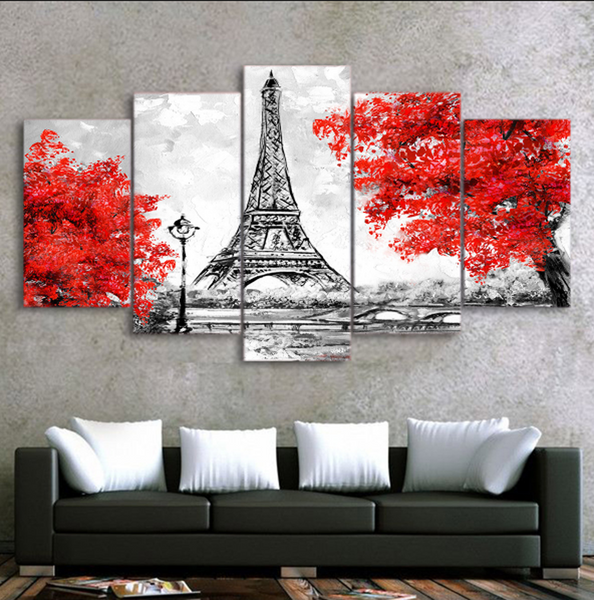 5PCS Framed Eiffel Tower Canvas Prints for Wall Art for Office and Home Wall Decor