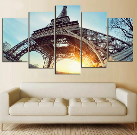 5PCS Framed Eiffel Tower White/Black Bottom View Canvas Wall Art for Office and Home Wall Decor