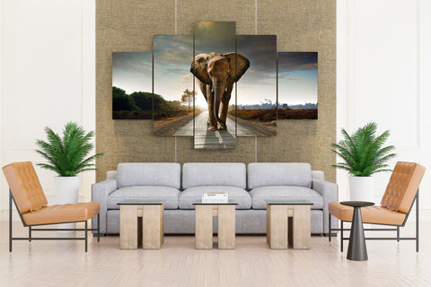 Elephant Strolling on Road - 5 piece Canvas