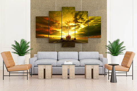 Evening Sky Passenger Airplanes Clouds - 5 piece Canvas