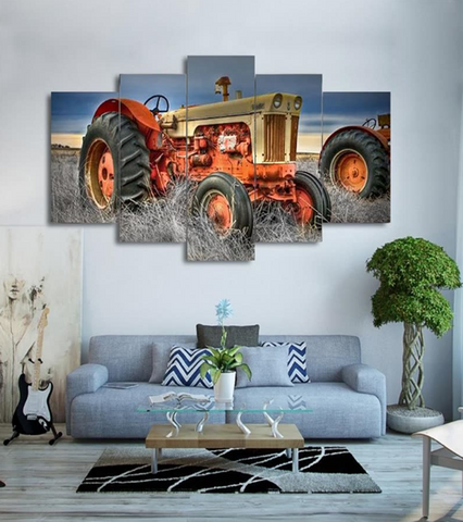 5 Pcs Farm Tractor Canvas - 5 piece Farm Spirit Tractor Vehicle Art For Your Home/Office & Farm House