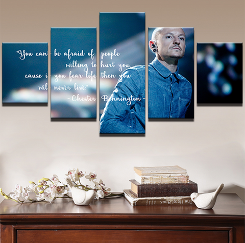5PCS Framed Chester Bennington Motivation Canvas Prints - 5 Piece Life Lesson Truth Conquer Fear Artwork Canvas Prints Wall Art for Office and Home Wall Decor