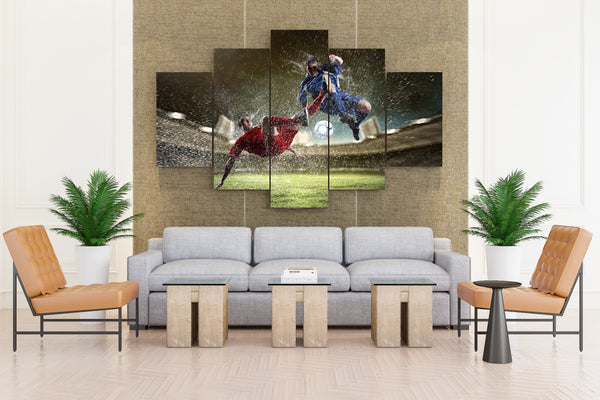 Footbal Men Ball SprayTwo Legs - 5 piece Canvas - EpicKanvas