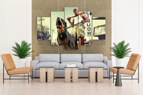 GTA 5 Men Dogs Franklin - 5 piece Canvas - EpicKanvas
