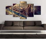 5 PCS Framed Game of Thrones Throne Prints - 5 piece Canvas For Game of Thrones Fan for Office/Home/Living Room