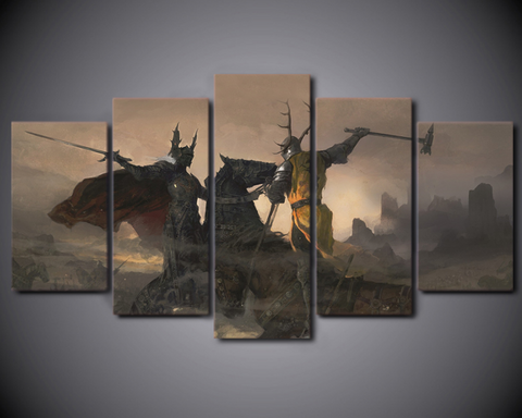 5 PCS Game of Thrones Fight Canvas - 5 piece Artwork For Game of Thrones Fan for Office/Home/Living Room