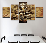 5 Pcs Indian God Ganesh Canvas - 5 piece Ganpati Bappa Maurya Canvas For Your Home/Office Room