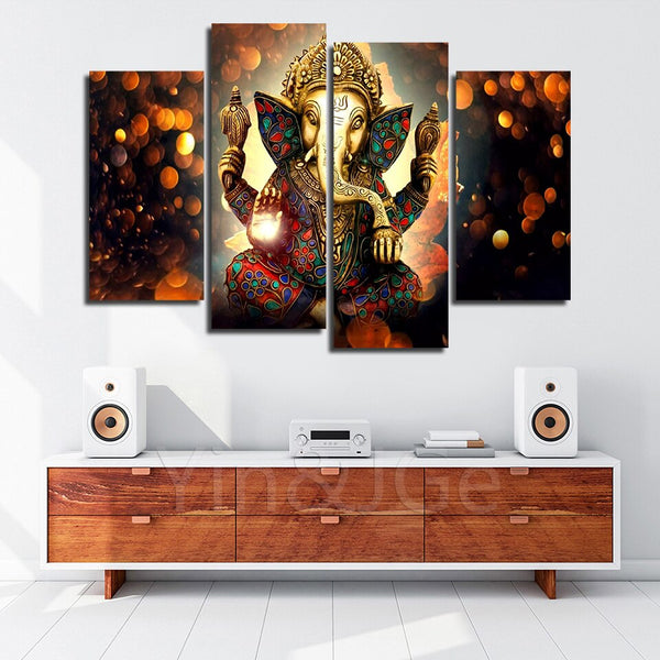 4PCS Ganesh Beauty Ganpati Bappa Maurya Wealth Master Art For Your Home/Office Room - EpicKanvas
