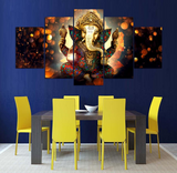 5 Pcs Indian God Ganesh Abstract Canvas - 5 piece Ganpati Bappa Maurya Canvas Ganesha Canvas For Your Home/Office Room
