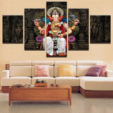 5 Pcs Indian God Ganesh Original Canvas - 5 piece Ganpati Bappa Maurya Canvas For Your Home/Office Room