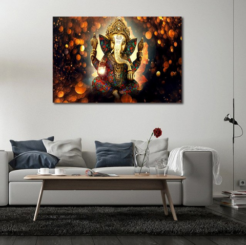 1 Pcs Indian God Ganesh Abstract Canvas - 1 piece Ganpati Bappa Maurya Canvas Ganesha Canvas For Your Home/Office Room