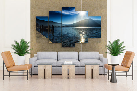 Germany Lake Evening Mountains Marinas Tegernsee - 5 piece Canvas - EpicKanvas