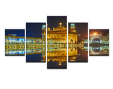 5 Pcs Framed Golden Temple Mirror Image Canvas For Your Home/Office Room
