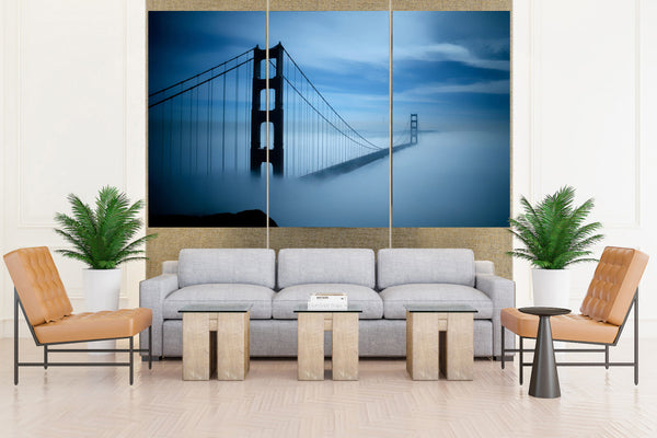 Foggy Golden Gate Bridge in San Francisco- 3 piece Canvas