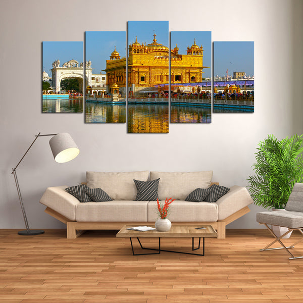 5 Pcs Indian Golden Temple Canvas- 5 piece Sikhism Culture Sikh Heritage Temple Made of 22K Gold Canvas For Your Home/Office Room