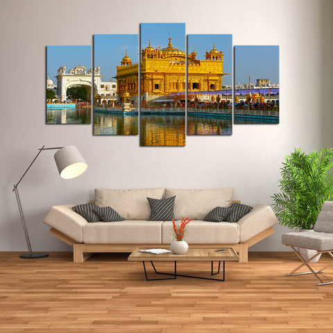 5 Pcs Indian Golden Temple Canvas- 5 piece Sikhism Culture Sikh Heritage Temple Made of 22K Gold Canvas For Your Home/Office Room - EpicKanvas