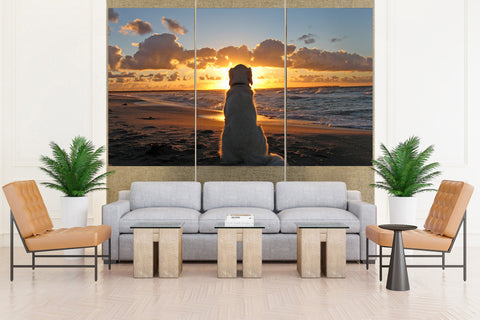 Golden Retriever at Sunset - 3 piece Canvas - EpicKanvas