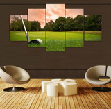 5 Pcs Framed Abstract Golf Course Canvas Artwork