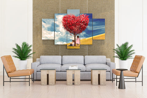 5 piece Canvas HEART LOVE Wall Art for Home/Office Beauty