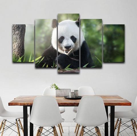 5 Pcs Framed HAPPY PANDA Canvas For Your Home/Office Room - EpicKanvas