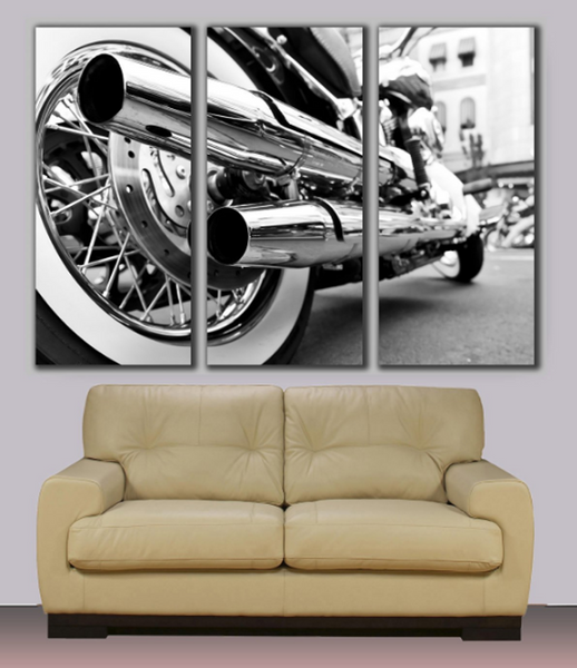 3 Panels Framed Harley Davidson motorbike, Huge canvas print for Home/Office Wall Decor
