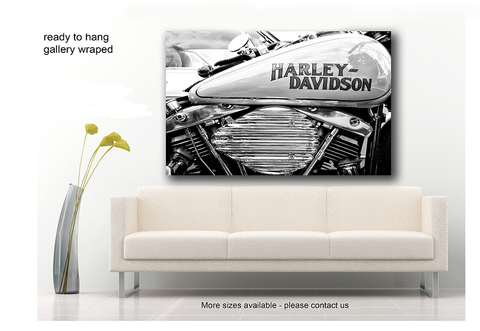 Framed Motorbike, Harley Davidson Huge Canvas Print, Black and White - EpicKanvas