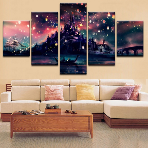 Tangled Beauty Canvas Art Like Harry Potter School Castle Hogwarts Beauty for Living/Office Room