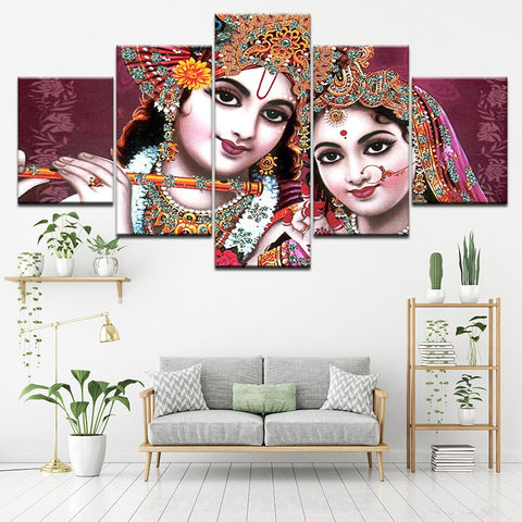 5PCS Framed KRISHNA & RADHA Epic Love Canvas For Home/Office Room - EpicKanvas