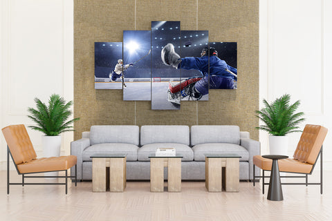 Hockey Player Shooting - 5 piece Canvas - EpicKanvas
