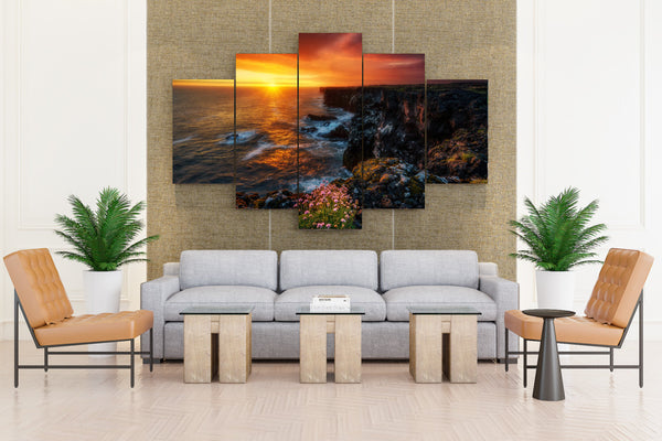 Iceland Sunrises and sunsets Coast Sea Scenery - 5 piece Canvas