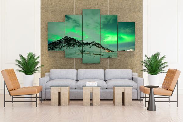 Iceland Winter Mountains Sky Snow Aurora Clouds - 5 piece Canvas