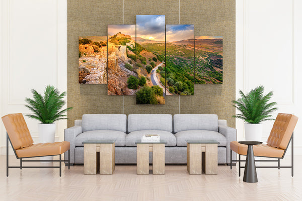 Israel Parks Ruins Roads Nimrod Fortress National - 5 piece Canvas