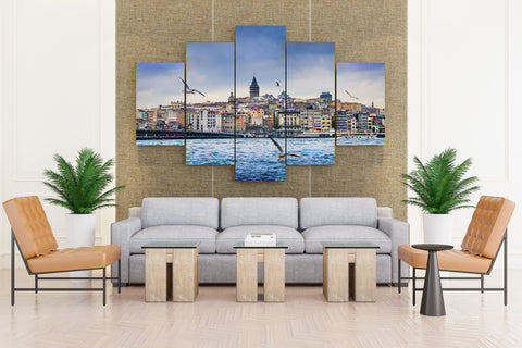 Istanbul Turkey Houses Rivers Gull Bridges Ships - 5 piece Canvas