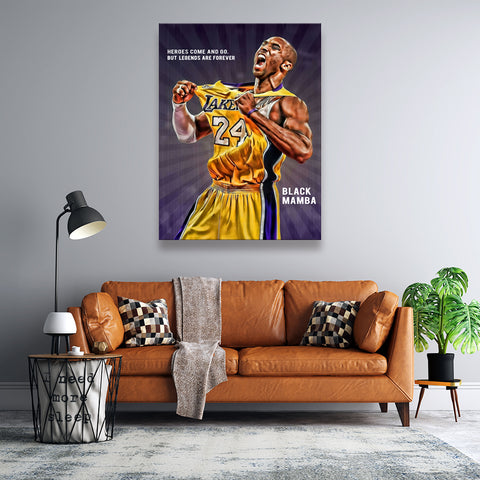 1 Pc Framed Kobe Bryant Lakers - Legends Do Not Die Canvas Wall Art Home Decor - EpicKanvas