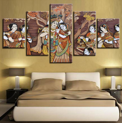 5PCS Framed KRISHNA & RADHA UNDER THE TREE Canvas For Home/Office Room