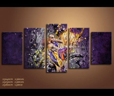 "5 Piece Mamba Abstract Kobe ""Ball on Hoop"" Bryant Basketball Champion Canvas - EpicKanvas"