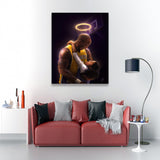 Epikkanvas Empowered Living: 1 Pc Framed Kobe & Gigi Bryant Love Bonding Artwork-1 Piece Lead By Example Kobe Special Wall Art for Office and Home Wall Decor - EpicKanvas