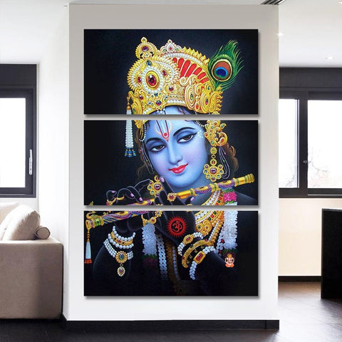 3 Pcs Framed Indian Deity Krishna With Basuree Canvas Art for your Home/Office Space - EpicKanvas
