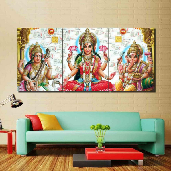 3 Pcs Framed LAKSHMI CANVAS for your Home/Office Space - EpicKanvas