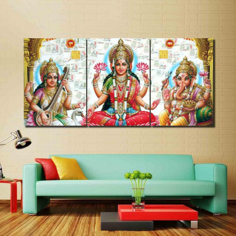 3 Pcs Framed LAKSHMI CANVAS for your Home/Office Space