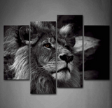 4PCS Lion King Taking Picture with a Pose Artwork - 4 piece Framed Canvas 21st Century Friendly Lion - EpicKanvas