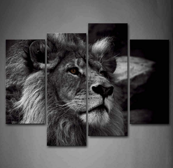 4PCS Lion King Taking Picture with a Pose Artwork - 4 piece Framed Canvas 21st Century Friendly Lion